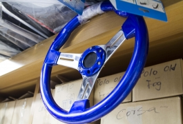 Montana Family Market_F&M Audio and Sound System_metallic blue steering wheel