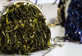 Montana Family Market_Fashion Jewelery_bead and tassle covered green elegent evening handbag