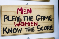 "Montana Family Market_Sports Store_""Men play the game, women know the score"" wooden plaque"