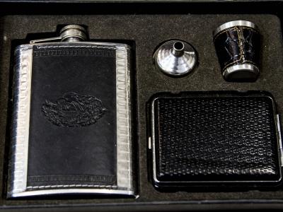 Montana Family Market_Fatema Tobacco_flask, shot glass, funnel, and cigarette case set